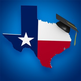 State of Texas with graduation cap