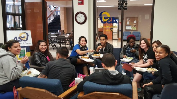 ASU student hanging out at the Multicultural Center lounge.