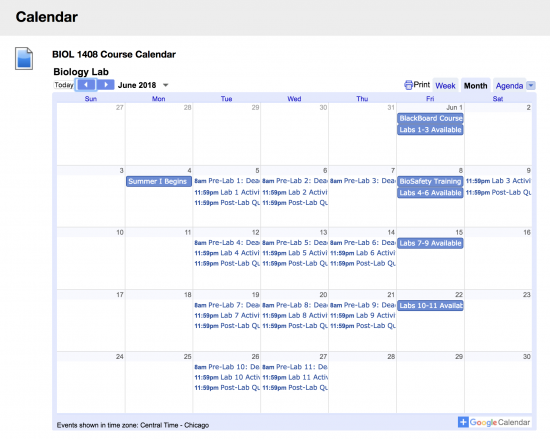 Screenshot of calendar from Ms. Ebeling's course.