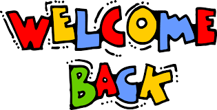 Welcome back sign in cartoon style letters.
