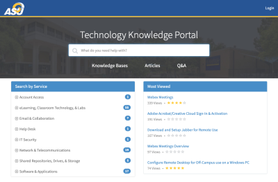 Screenshot of Technology Knowledge Portal
